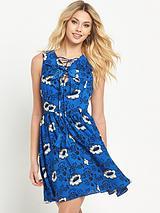 Lace Up Ruffle Dress