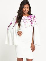 Orchid Print Cape Dress
