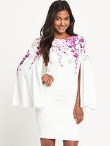 Orchid Print Cape Dress