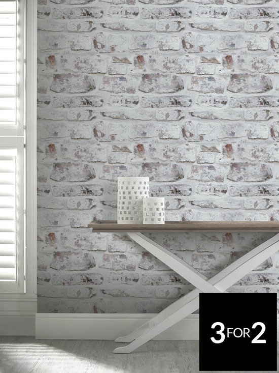 Whitewashed Brick Wall Wallpaper