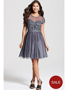 little-mistress-grey-fit-and-flare-embellished-dress