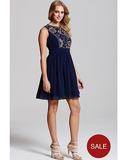 little-mistress-navy-and-gold-embellished-fit-and-flare-dress