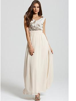 Little Mistress Heavily Embellished Cream and Gold Maxi Dress