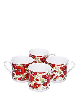 red-poppy-4-piece-afternoon-tea-mugs