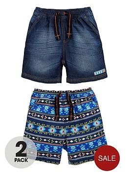 ladybird-boys-print-and-denim-shorts-2-pack