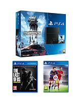 500gb Console Star Wars Battlefront Bundle with The Last of Us and FIFA 16