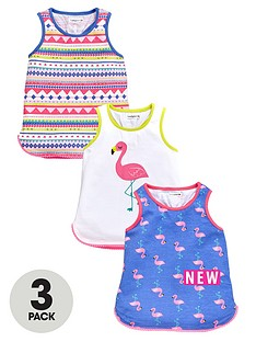 ladybird-girls-3pk-flamingo-print-vests
