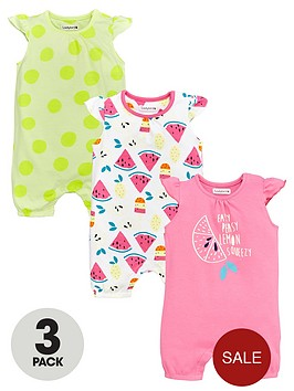 ladybird-baby-girls-summer-brightsnbsprompers-3-pack