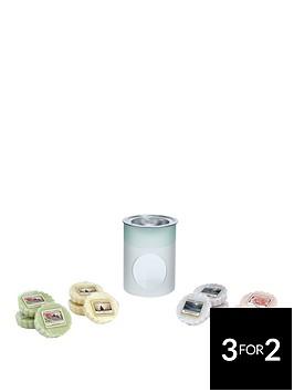 yankee-candle-12-classic-wax-melts-with-serene-sandblast-melt-warmer