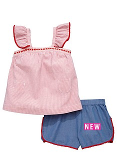 ladybird-girls-pom-pomnbspsmock-top-and-shorts-set