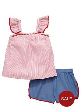 ladybird-girls-pom-pomnbspsmock-top-and-shorts-set