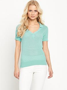 v-by-very-pointellenbspshort-sleeve-collared-jumpernbsp