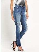 High WaistedRipped Knee Skinny Jeans