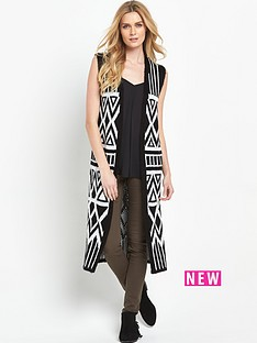 v-by-very-aztec-pattern-sleeveless-midi-brushed-cardigan