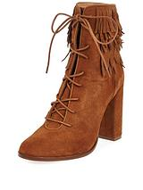 RIVER ISLAND SUEDE LEAF TRIM CUFF LACE UP TAN ANKLE BOOT