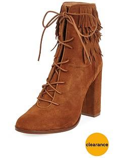 river-island-river-island-suede-leaf-trim-cuff-lace-up-tan-ankle-boot