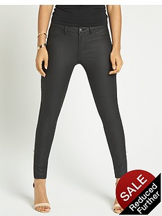 rochelle-humes-zip-side-coated-skinny-jeans