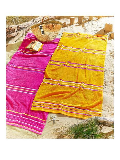 catherine-lansfield-rainbow-beach-towel-pair-pink-amp-orange