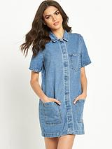 Logy Short Sleeve Denim Tunic Dress