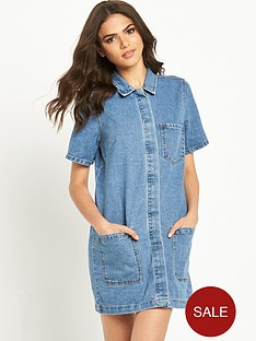 vila-logy-short-sleeve-denim-tunic-dressnbsp