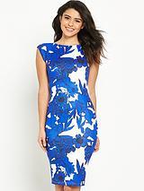 Print Cap Sleeve Midi Dress