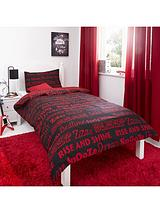 Sleep Tight Duvet Cover and Pillowcase Set - Red and Black