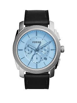 fossil-machine-blue-dial-and-black-strap-mensnbspwatch