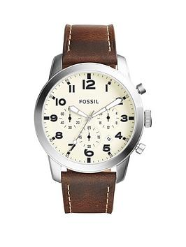 fossil-pilot-eggshell-dial-brown-strap-gents-watch