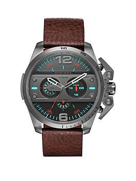 diesel-machinus-gunmetal-case-brown-leather-strap-mens-watch
