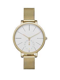 skagen-skagen-hagen-gold-stainless-steel-mesh-bracelet-ladies-watch