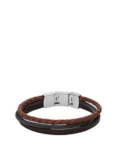 fossil-brown-and-black-leather-cuff-mens-bracelet