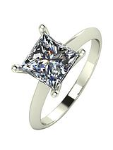9ct Gold 2 Carat Princess Cut Solitaire Ring