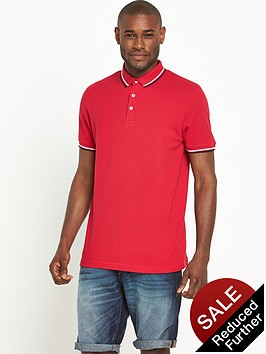 v-by-very-short-sleeve-solid-tipped-pique-polo