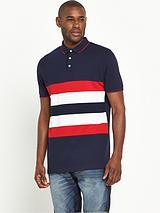 Short Sleeve Chest Stripe Button Polo Top