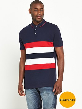 v-by-very-short-sleeve-chest-stripe-button-polo-top