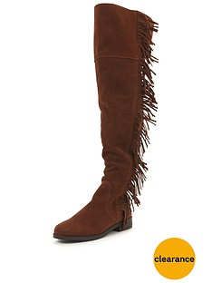miss-selfridge-miss-selfridge-fringe-over-the-knee-boot