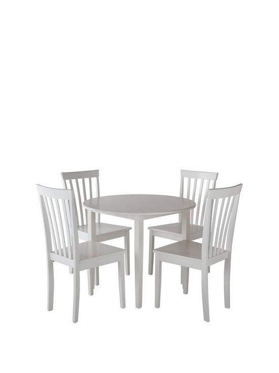 Sophia 90 Cm Round Dining Table 4 Chairs White Verycouk