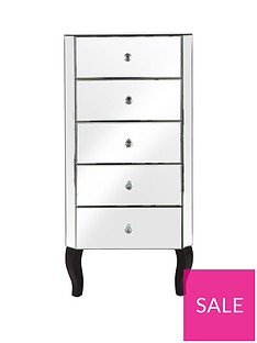Vegas Mirrored 5 Drawer Narrow Chest