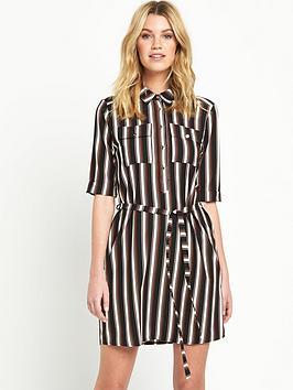 miss-selfridge-stripe-print-belted-shirt-dress