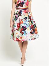 Floral Swirl Full Midi Skirt