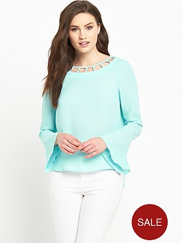 v-by-very-eyelet-cut-out-neck-fluted-sleeve-blouse