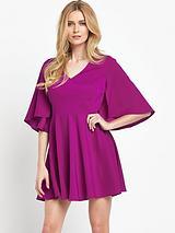 Satin Back Crepe Cape Dress