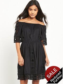 miss-selfridge-black-bardot-lace-dress