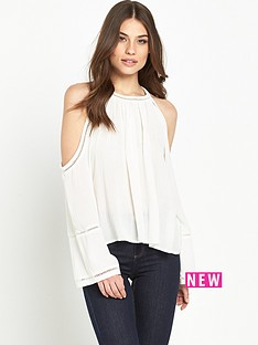 miss-selfridge-cold-shoulder-blousenbsp