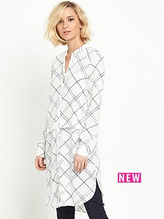 warehouse-warehouse-check-long-line-shirt-dress
