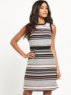 warehouse-multi-stripe-tweed-dress