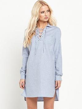 warehouse-lace-up-tunic-dress