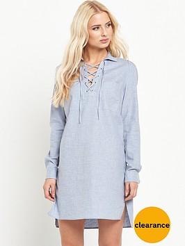 warehouse-lace-up-tunic-dress