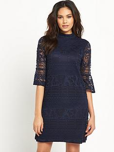 warehouse-high-neck-fluted-sleeve-dress