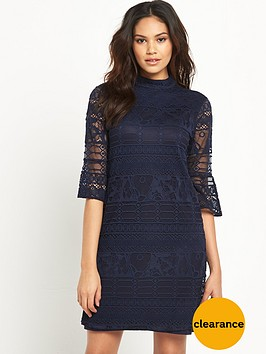 warehouse-high-neck-fluted-sleeve-dress
